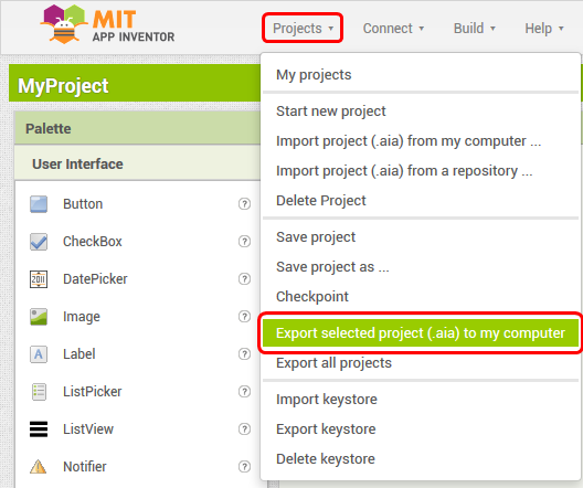 ExportProjectToComputer